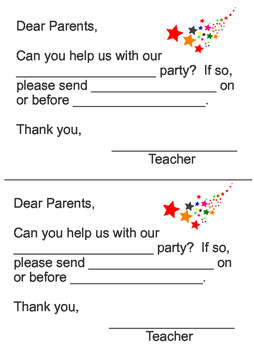 Parent Letter- Can you help us with our party