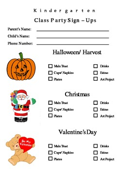 parent letter classroom holidays and party sign up sheet by amiarie