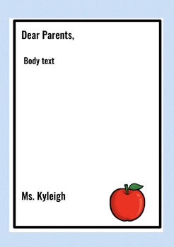 Parent Letter EDITABLE FREEBIE