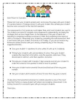 Parent Letter Graded Work Folder