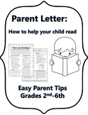 Parent Letter: How to help your child read at home FREEBIE!