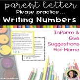 Parent Letter ~ Writing Numbers
