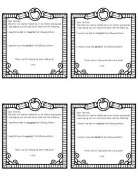 Parent Letter/Learning Alphabet Letters at Home