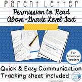Parent Letter: Permission to Read Above-Level Text