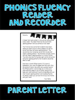 Parent Letter - Phonics Fluency Reader and Recorder