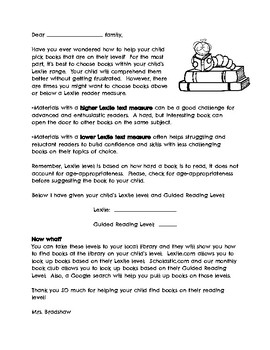 Parent Letter (Picking books based on Lexile and Guided Reading Level)
