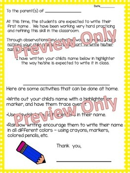 Parent Letter ~ Practice Name Writing