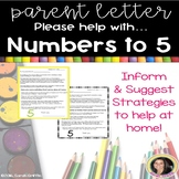 Parent Letter ~ Practice Numbers to 5