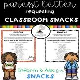Parent Letter ~ Request Classroom Snacks