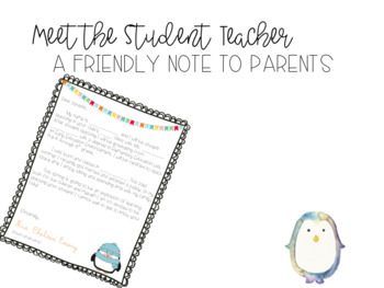 Parent Letter- Student Teaching Edition