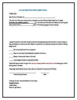 Parent Letter- Students Failing the Class