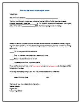 Parent Letter- Students Failing the Class