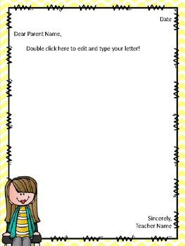 Parent Letter Template FREEBIE By Miss Kellys Classroom TpT - Parent letter template