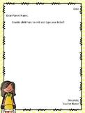 Parent Letter Template FREEBIE
