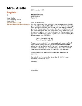 Parent Letter Template - Grade Notice