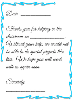 Parent Letter- Thank You for Helping