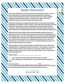 Parent Letter - Whole Brain Teaching