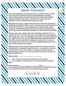 Parent Letter - Whole Brain Teaching