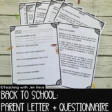 Back to School: Parent Letter and Questionnaire