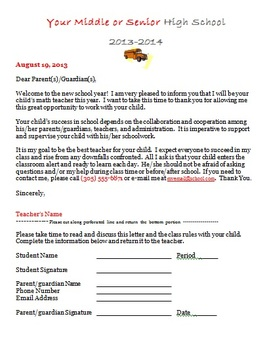 Parent Letter and Student Contact Information EDITABLE Forms