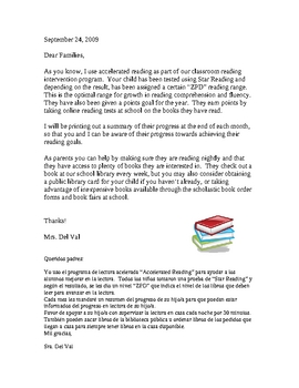 Parent Letter for Accelerated Reading