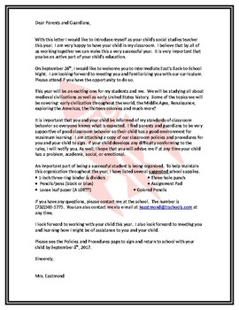 Parent Letter for  Beginning of the Year