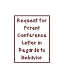 Parent Letter for Conference in Regards to Conduct