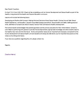 Parent Letter for Health and Sexuality Class