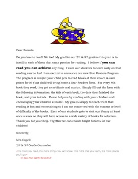 Parent Letter for Star Readers Program