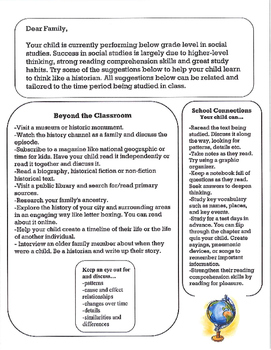 Parent Letter for Students Struggling with Social Studies/ History (Grades 3-7)