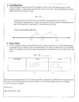Parent Letter for Subtraction Standards