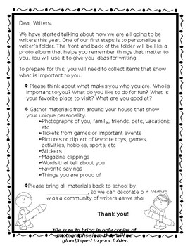 Parent Letter for Writer's Workshop
