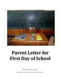 Parent Letter for First Day of School