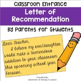 Parent Letter of Recommendation for Student Entry into the