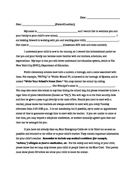 Parent Letter to Explain NYC DOE Public School Routines and Information