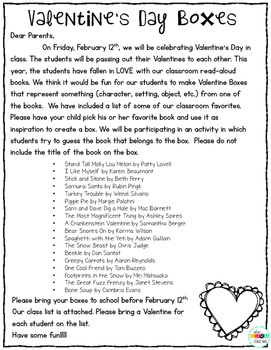 Parent Letter to Make Read-Aloud Valentine Boxes at Home
