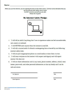 Parent Letter w Pledge goes w Internet Safety Lesson