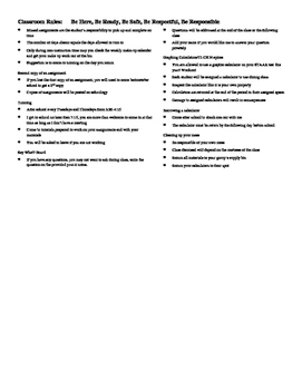 Parent Letter with Classroom Procedure List