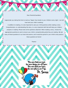 Parent Letter/Comprehension Question Cards for Home