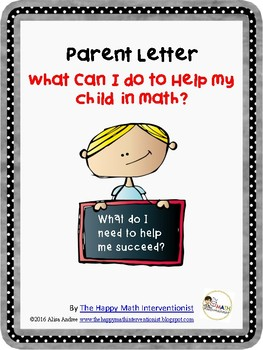 """Parent Letters K-5 for """"How do I help my student in math?"""""""