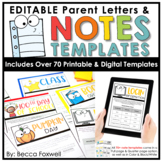 Parent Letters & Notes Templates - EDITABLE   Printable   Digital