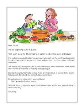 Parent Letters: Plant Parts