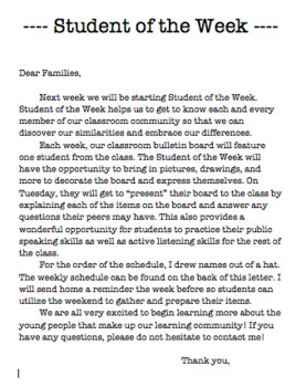Parent Letters: Snack. Headphones, and Student of the Week