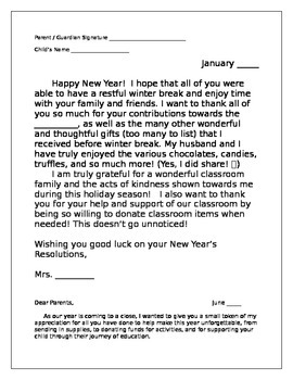 Parent Letters-Welcome, Winter Break Thank You, End of Year
