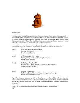 Parent Letters for LG Language Lessons using Story Books
