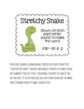 Parent Letters for Reading Strategies