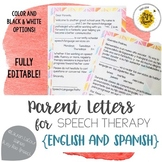 Parent Letters for Speech Therapy in English & Spanish | EDITABLE