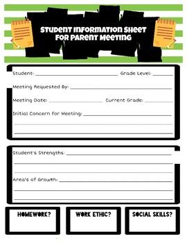 Parent Meeting Sheet