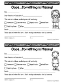 Parent Missing Assignment Form