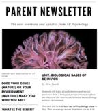 Parent Newsletter (AP Psych) | Biological Bases of Behavior *Editable